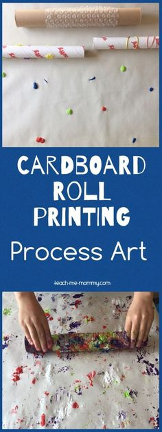 cardboard roll printing process art painting for kids