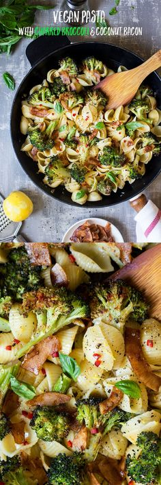 #dinner #broccoli #entree #lunch #coconutbacon #veganbacon #fauxbacon #vegan #bacon #pasta #orecchiette #charredbroccoli