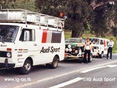 Audi Quattro, support team with Michèle Mouton and Fabrizia Pons car in Vw Bus T3, Auto Volkswagen, Audi Sport, Sport Cars, Race Cars, Audi Quattro, Vans Vw, Vw Lt, Auto Service