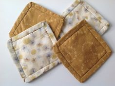 Cute Floral Fabric Coasters Hand Made Golds by 2Fun4Words on Etsy, $5.99