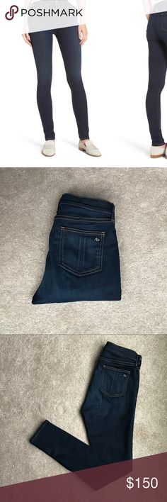"""NEW! Rag&Bone High Rise Skinny Denim - 27 Super soft Rag and Bone high rise super skinny denim in """"Bedford"""" wash. Dark denim with contrasting gold stitching. These are much more flexible than traditional R&B's. Had them on for 30 minutes and then threw them back in my closet. They've been sitting there ever since so it's time to find them a new home 😊 Additional product info on last photo rag & bone Jeans Skinny"""