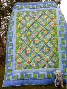 Купить Лоскутное одеяло Садовая оградка и ромашки - лоскутное шитье, лоскутное одеяло, лоскутное покрывало