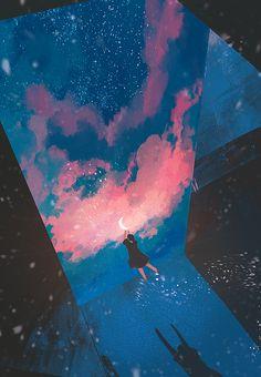 "redlipstickresurrected: aka 제딧 (Korean, South Korea) - from 365 Days of Daydream, 2017 Digital Arts: Paintings "" Japon Illustration, Illustration Art Drawing, Art Drawings, Wallpaper Animes, Animes Wallpapers, Pretty Art, Cute Art, Image Nature, Aesthetic Art"