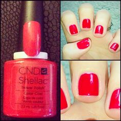 Short, Square, Glossy Red Nails... Always a Classic... @cndworld #shellac #powerpolish #wildfire #classic #getbookedin
