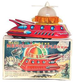 Collectible vintage space toys-Tin space toys, battery operated ...