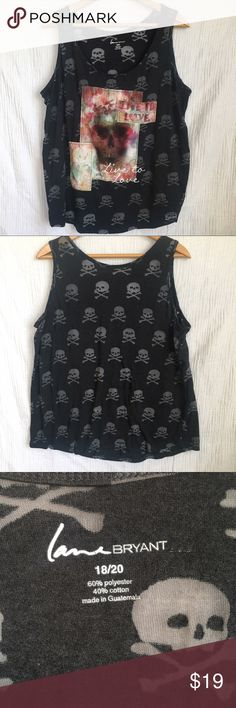 Lane Bryant Live to Love Skull Tank Top Charcoal gray Lane Bryant Live to Love Skull Tank. Skulls are sheer and  see-through. Fun and playful. Pre-owned still in great condition. Size 18/20 Lane Bryant Tops Tank Tops