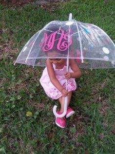 Small 34 Little Girl Personalized Monogram Clear Umbrella