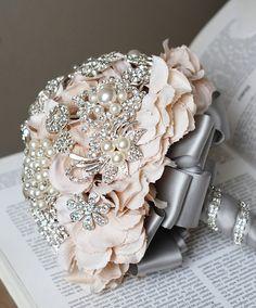 Vintage Bridal Brooch Bouquet - Pearl Rhinestone Crystal - Silver Peach Pink Grey