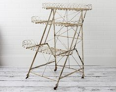 Antique 3 Tier Folding Wire Plant Stand  from Zinnia Cottage