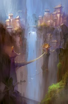 City at the top of a waterfall.  artwork by Chen Zhe