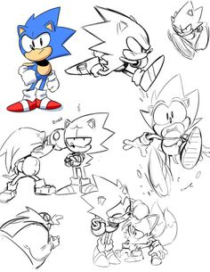 All drawings by Tyson Hesse. Previously artist on: Boxer Hockey, Amazing World of Gumball, Bravest Warriors, Archie's Sonic the Hedgehog, Megaman. Currently working on: Boom Comics' Diesel. Hedgehog Art, Sonic The Hedgehog, Sonic Fan Art, Character Drawing, Game Character, Character Sketches, How To Draw Sonic, Arte Nerd, Classic Sonic
