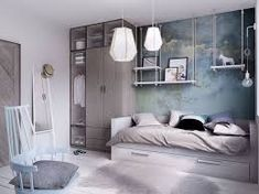 Aesthetic bedroom ideas modern apartment functionality blue light shelves precious for room white aes . Home Design, Room Ideas Bedroom, Bedroom Decor, Bed Room, Discount Bedroom Furniture, Teenage Room, Minimalist Apartment, Teen Girl Bedrooms, Aesthetic Room Decor