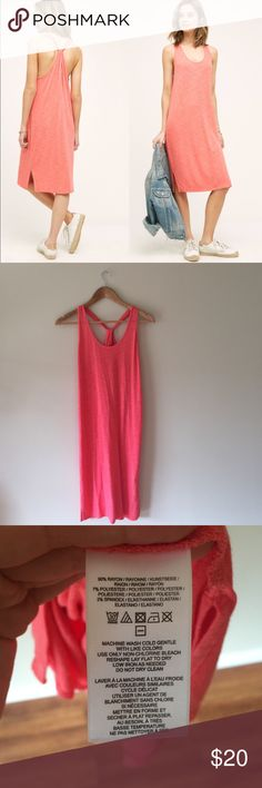 """🆕 Anthropolgie Asa tank dress This dress is so cozy you'll want to live in it! Soft and flattering with a vibrant coral hue. Saturday Sunday for Anthropolgie. Worn once. 38.5"""" long, 28"""" bust.    Ships from Hawaii 🌺 No trades 😇 Reasonable offers welcome 👍🏻 Bundle & save 💰 Anthropologie Dresses"""