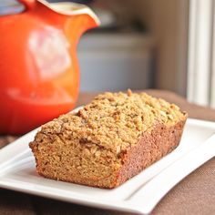 Quick Bread with Shredded Carrots and Spices, topped with Oat Streusel