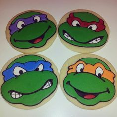 Ninja Turtle Cookies for the party.
