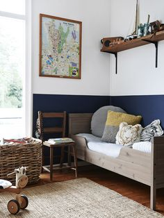 Boy S Bedroom With Sailboat Wallpaper Navy Amp White