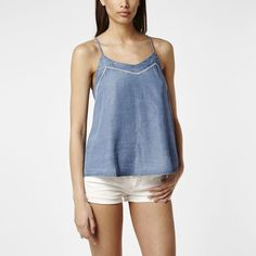 Tencel Cami Tank top - Silky soft chambray-like fabric with white cotton eyelet detail. O'Neill Final Summer Sale 2016