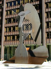 The Chicago Picasso (often just The Picasso) is an untitled monumental sculpture by Pablo Picasso in Chicago, Illinois. The sculpture, dedicated on August 15, 1967, in Daley Plaza in the Chicago Loop, is 50 feet (15.2 m) tall and weighs 162 short tons (147 t).The Cubist sculpture by Picasso was the first such major public artwork in Downtown Chicago, and has become a well known landmark.