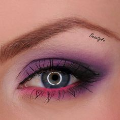 Purple Smokey Eye with Pink Eyeliner