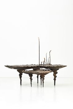 Archeoflavus Tripartitus (Turin Pattern Coffee Table – Large) Patinated bronze 143 x 102 x 46.5 / 83.5 cm Edition of 5 + 1 AP  Archeoflavus Pulchellus (Turin Nesting Coffee Table – Small) Patinated bronze 79 x 68 x 36 / 111 cm Edition of 5 + 1 AP Kenyan Artists, Stained Table, Led Fixtures, Turin, Crystal Ball, Southern, Tables, Dining Table, Bronze