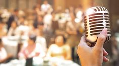 wedding meeting and event on stage concept - close up retro microphone in singer hand on stage of business meeting or event whit flare light effect and copyspace Wedding Fair, Wedding Dj, Free Wedding, Plan Your Wedding, Wedding Venues, Wedding Planning, Mainstream Music, Table Planner, Best Wedding Favors