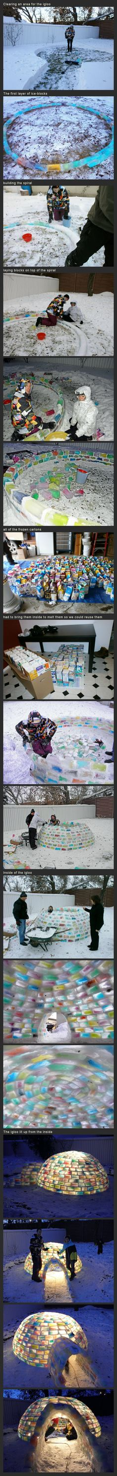 Building The Rainbow Igloo built by Kathleen Starrie and Daniel Gray