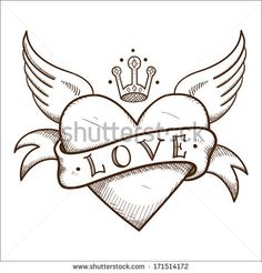 Heart with banner and crown. Sketch element for romantic design
