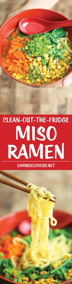 Clean-out-the-Fridge Miso Ramen - Restaurant-quality ramen made at home in 15 min from start to finish. So quick, so easy and so good, loaded with veggies!