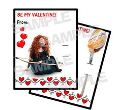 BRAVE Merida personalized Valentine Cards holds by myhtmdesigns, $8.99