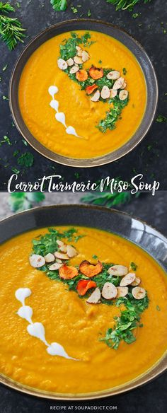 Carrot Turmeric Miso Soup - A quick and healthy vegan soup made with sweet winter carrots and the super spice turmeric seasoned with fermented miso. So simple so delicious - it's a vegetarian weeknight meal and perfect for Meatless Monday! Recipe at Sou Soup Recipes, Vegetarian Recipes, Healthy Recipes, Detox Recipes, Leek Soup, Vegan Soups, Vegan Detox Soup, Weeknight Meals, Soups And Stews