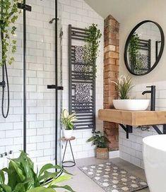 Bathroom Vanity Units, Rustic Bathroom Vanities, Bathroom Renos, Sink Vanity Unit, Modern Boho Bathroom, Natural Bathroom, Earthy Bathroom, Brick Bathroom, Bathroom Colours