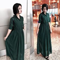 Today's airport look!♥️ This beautiful long green dress from @thecolourcrush_  #ootd  #airportlook #avneetians #avneetstylediary