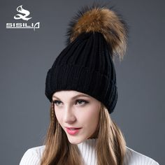 fd0acfca SISILIA 2016 New Women's Hats With Raccon&Fox Fur Hat Pom Poms Winter Hats  Multiple Colour Knitted Cotton Beanies Female Cap-in Skullies & Beanies  from ...