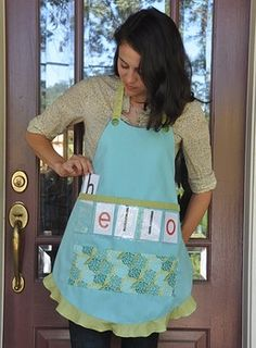 Show and Tell Apron (blue apron with floral pocket)