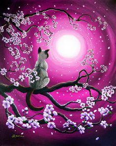 Magenta Morning Sakura Metal Print by Laura Iverson - - Kunst - Katzen Branch Drawing, Cat Drawing, Life Drawing, Animal Drawings, Artwork Drawings, Cat Art, Watercolor Art, Fantasy Art, Art Projects