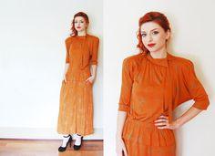 Vintage JEAN MUIR Dress - 1980s Orange Cotton Power Dress Designer Print - Medium