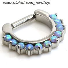 Surgical Steel Septum Clicker Ring For Nose ~ Synthetic Opal ~ 1.6mm x 8mm (14g)