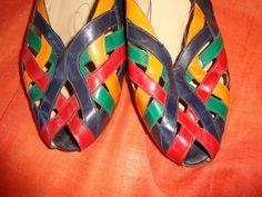 Vintage Sandalen - Schuhe*Vintage*medicus*7.5*Leder*bunt* - ein Designerstück…