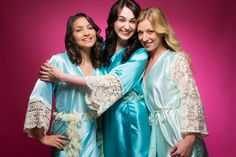 Mint, Teal and Light Blue Luxurious Silk Lace Robes | Bridesmaids Robes, Kimono Robes, Bridesmaids gift, getting ready robes