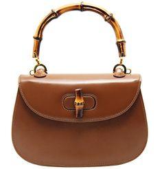 Pre-owned Gucci Vintage Bamboo Top Handle Bag Vintage Gucci, Vintage Bags, Leather Purses, Leather Bag, Leather Handbags, Brown Leather, Gucci Top, Gucci Bamboo, Prada Bag