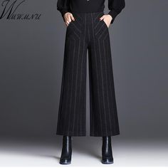 plus size Wide Leg Pants Women Elegant Casual woolen Wide Trousers Women Pantalon  Mujer High elastic 020e0ce2cfc4