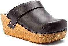 New Sanita Clogs Wood Wegner Platform Open Back Mules Slip Ons Pull Up