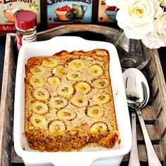 Baked Oatmeal with Bananas & Peanut Butter Recipe Breakfast and Brunch with rolled oats, baking powder, milk, eggs, maple syrup, peanut butter, bananas