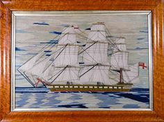 A British Sailor's Woolwork Picture of a Ship, Circa 1870.