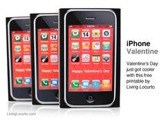 Cute iPhone Valentine. Free Printable by Amy Locurto of LivingLocurto.com