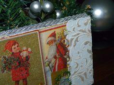 Caja de Vino convertida en centro decorativo de navidad. Detalle de decoupage y estarcido en relieve.