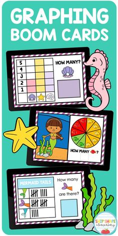 This cute deck of mermaid themed Boom Cards will help your kindergarten or first grade students practice graphing. Ideal for centers, assessment, distance learning, homeschool, or regular classroom use! #firstgrade #distancelearning #mathboomcards #boomcards #1stgradeboomcards First Grade Activities, 1st Grade Math, Math Activities, Second Grade, Bar Graphs, Kindergarten Fun, Little Learners, Unique Cards, Elementary Math