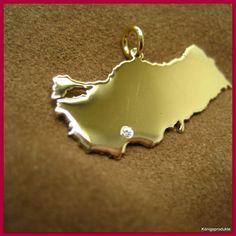 TÜRKEI Landkarte Anhänger, in 585er Gelbgold & 1 Brillant - Türkiye