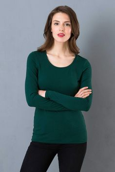Silky Scoop Neck in Pine