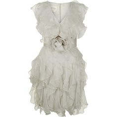 NOTTE BY MARCHESA Silk organza ruffle dress (21.655 RUB) ❤ liked on Polyvore featuring dresses, vestidos, short dresses, sukienki, cream, waist belts, v neck mini dress, sleeveless dress, short cream dress and v neck cocktail dress